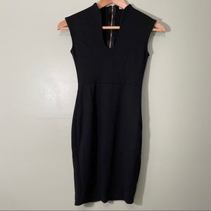 Sleeveless Scoop Front Black Fitted Dress Zipper